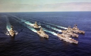 An aerial starboard bow view of six nuclear-powered guided missile cruisers underway in formation during exercise READEX 1-81.  The ships are, from left to right:  USS TEXAS (CGN-39), USS MISSISSIPPI (CGN-40), USS CALIFORNIA (CGN-36), USS SOUTH CAROLINA (CGN-37), USS VIRGINIA (CGN-38) and USS ARKANSAS (CGN-41).